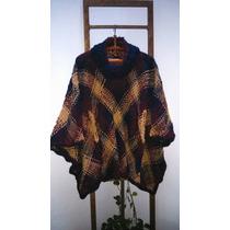 Ponchos Tejido Telar Y Crochet Lana Merino Flame