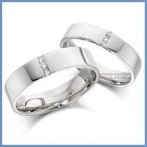 Argollas De Matrimonio Mod. Grecia En Platino Con Diamantes