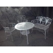 Jogo 2 Cadeira Com1 Banco Floral 1mesa Para Jardim Varanda