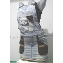 Roupas Femininas-jardineira Jeans Customizada Tamanho P