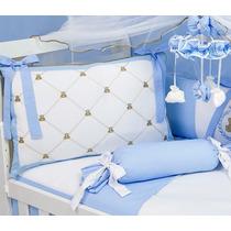 Kit Berço Menino Príncipe Urso Teddy Azul 10pç Baby 24horas