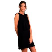 Vestido De Mujer Negro En Capas En Gasa Formal Oficina