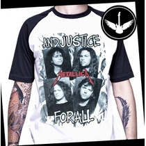 Camiseta Raglan Metallica And Justice For All Baby Look Rock