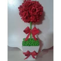 Topiaria De Rosas Vermelhas Em Eva 10 Uni.