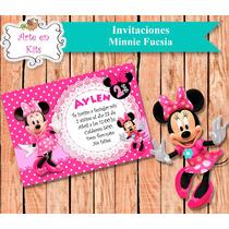 Tarjetas Invitaciones Minnie Fucsia X10u De 10x15 Cm