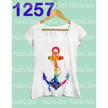 Camiseta Blusa Tshirt Feminina Estampa Âncora Moda Look Mar