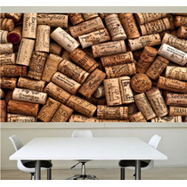Adesivo Painel Papel De Parede Rolhas Cozinha Bar Vinho M11