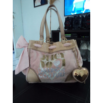 Bolsa Juicy Couture Piel Y Velour Con Charms 100% Autentica