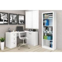 Conjunto 3 Móveis Arquivo Estante Livros Balcão Mesa Branca
