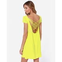 Vestido Casual Amarelo De Balada Lindo Chifon