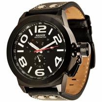 Relógio Magnum Ma31560p Pulseira De Couro Preta
