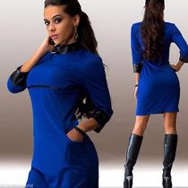 Vestido Sexy Con Bolsillos Y Aplicaciones De Cuerina