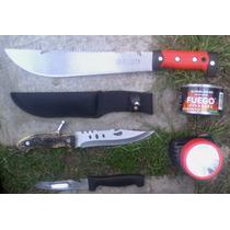 Kit Campamento Machete Cuchillo Lampara Y Fuego