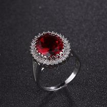 Anel Fashion Pedra Zircónia Cúbica Vermelha Prata 925