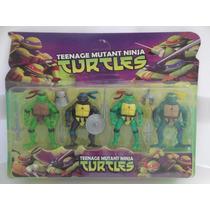 Kit Tartarugas Ninja Com 4 Personagens 12cm + Acessórios