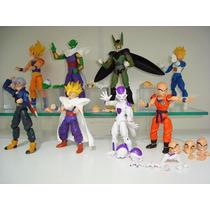 Coleção 8 Bonecos Dragon Ball Z Kuririm Goku Cell Articulado