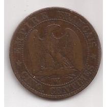 Francia Antigua Moneda 5 Centimes Año 1853 W