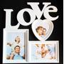 Quadro Painel Love Porta Retrato Mural 3 Fotos