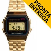 Relógio Unissex Retrô Vintage Dourado Prata Pronta Entrega