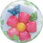 Globo Qualatex Burbuja Doble Bubbles Flor Con Mariposa 24