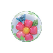 Globo Qualatex Burbuja Doble Bubbles Flor Con Mariposa 24