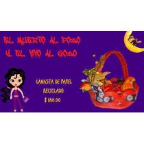 Canasta Con Calabazas, Para Día De Muertos. Papel Reciclado