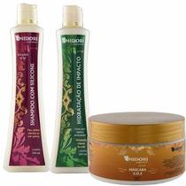 Kit Shampoo Silicone, Condicionador Impacto, Máscara Midori