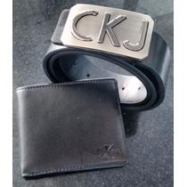 Cinto Calvin Klein + Carteira Ck Couro Legitimo Importado !