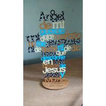 Cruces De Madera Mdf Pintadas A 4 Colores Con Base 25cm