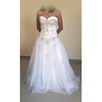 Vestido Novia Estilo Princesa Blanco Aplicaciones Bordadas
