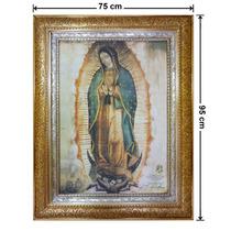 Cuadro Hoja De Oro Y Plata, Lienzo, Virgen, 75x95cm