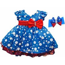 Vestido Festa Azul Galinha Pintadinha Com Faixinha De Cabelo