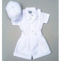 Terno Conjunto Social Branco Bebê Com Suspensório Batizado