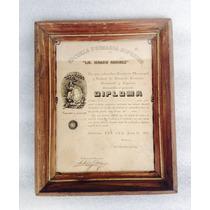 Documento Diploma Antiguo 1935 Con Moneda Antigua De Plata