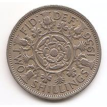 Moneda Gran Bretaña Inglaterra Florin 2 Shilling Año 1956