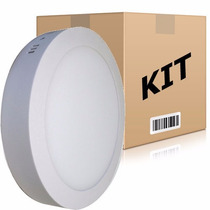 Kit 10 Painel Plafon Redondo Luminária Sobrepor Led 18w Bivo