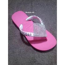 Sandálias Havaianas Customizados Com Fio De Seda E Strass