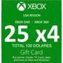 Combo Cuatro Gifts Cards Xbox Live 25 C/una En Total U$100