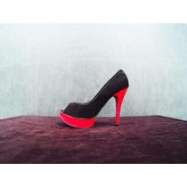 Zapatos Para Damas Con Tacon, En Color Negro Y Rosado