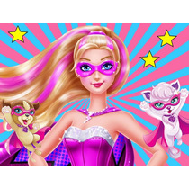 Kit Imprimible Barbie Super Princesa Diseña Tarjeta Cotillon