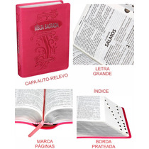 Bíblia Sagrada Letra Grande Feminina Índice Auto Relevo Pink