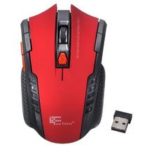 Mouse Inalambrico Rojo Gamer 6 Botones Dpi 2400 Ergonomico