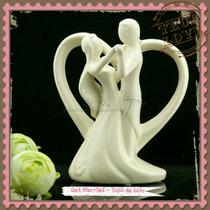 Topo De Bolo Importado Coração Casal Porcelana