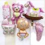Combo Globo Metalizado Baby Shower 6 Unidade Niño Niña Bebe
