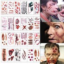 Tatuaje Halloween Disfraz Cicatriz Maquillaje Por Planilla