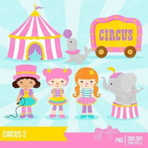 Kit Imprimible Circo Payasos Nena 2 Imagenes Clipart