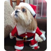 Fantasia Para Cachorros E Gatos Roupa Papai Noel Tamanho P P