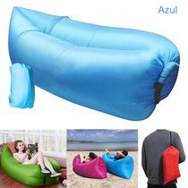 Sillon Sofa Cama Inflable Portátil Tipo Lamzac Playa (azul)