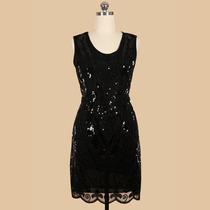 Vestido De Fiesta Negro Con Lentejuelas Talla M En Stock