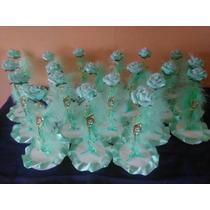 Centro De Mesa 15 Años Boda Rosa De Porcelana Fria Alto25 Cm